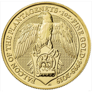 2019 U.K. 100 Pound 1 oz Gold Queen's Beast Falcon of the Plantagenets BU