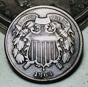 1864 Two Cent Piece 2C Ungraded Choice Civil War Date Good US Copper Coin CC7011