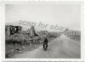 Original-WWII-Photo-Motorcycle-Rider-Bombed-Ruins-France