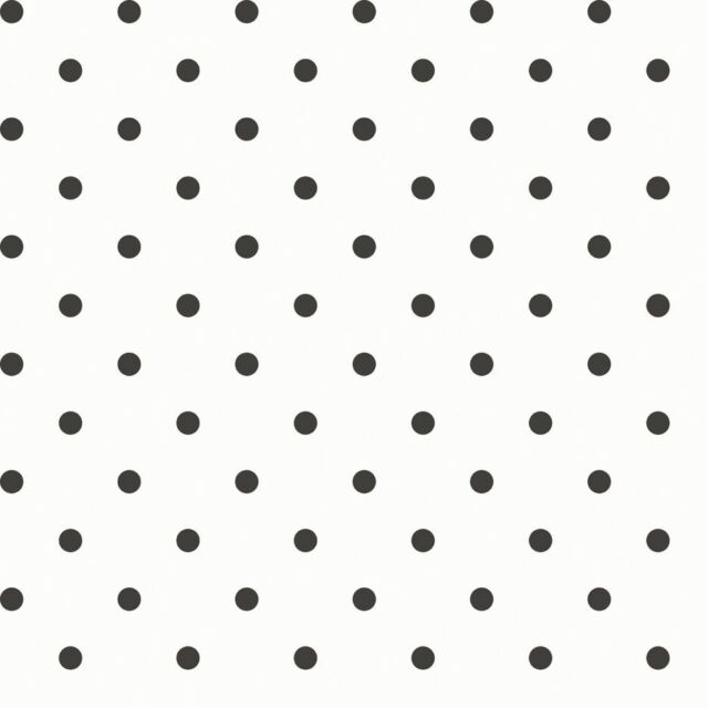 Essener Tapete Primavera 7579 Dots Polka Dotted Black White Fleece Wallpaper
