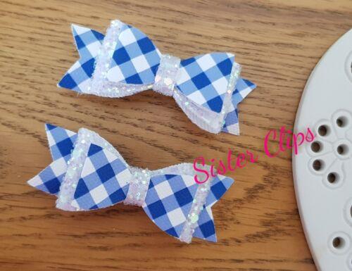 "Back to School set of 2 royal blue gingham /& white glitter 2.5/"" hair bow clips"