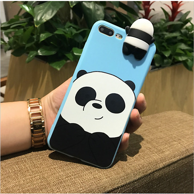 Cute 3D Cartoon TPU Soft Bear Protective Back Case Cover Anti Stress For iPhone