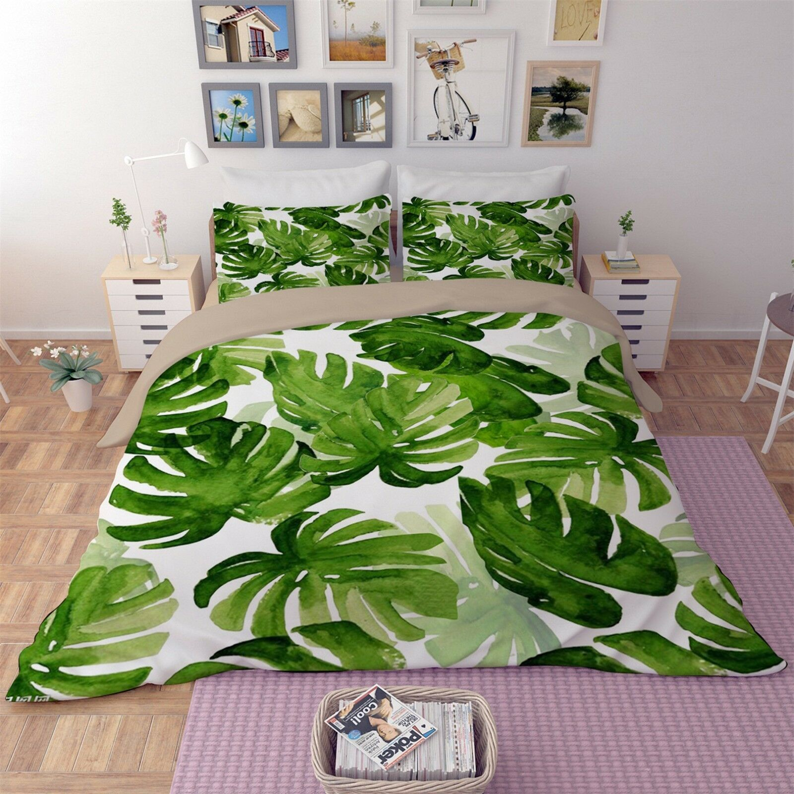 3D Green Leaf Pattern 41 Bed Pillowcases Quilt Duvet Cover Set Single Queen CA
