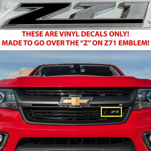 Gloss Black Vinyl Overlays For Z71 Grill Emblem For 2015-2018 Chevy Colorado New