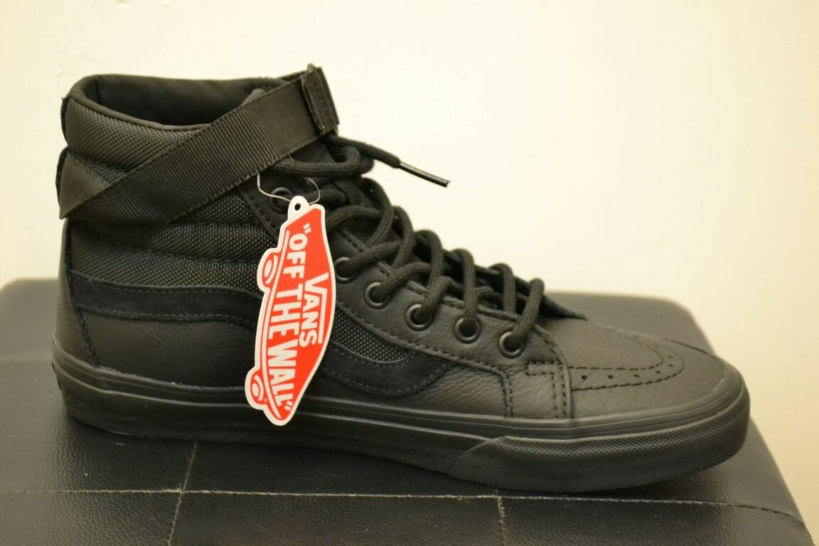 BNIB  Vans SK8 Hi Reisse black leather old skool trainer sneaker boot.