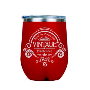 12oz Stainless Steel Stemless Wine TumblerVintage 1949
