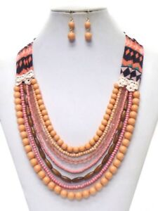 Pink-Coral-Beads-Necklace-Earring-Layered-Navajo-Style-Fabric-Fast-Ship-USA
