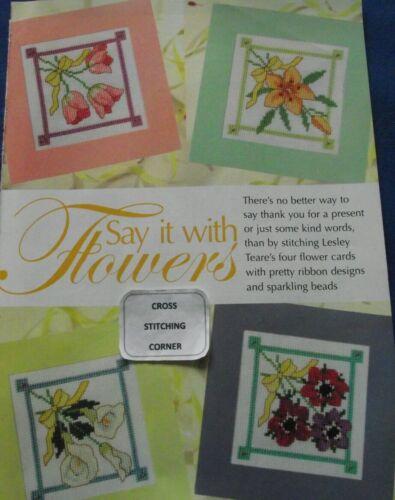 Dilo con flores 4 Tarjetas flor Posies atado con cintas cuadro de punto de cruz
