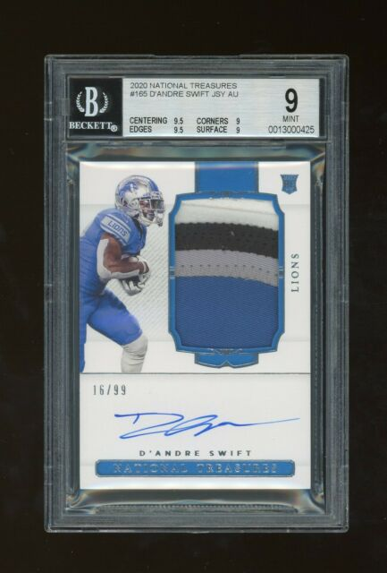 2020 Panini National Treasures RC Patch Auto /99 D'Andre Swift BGS 9 10 Lions