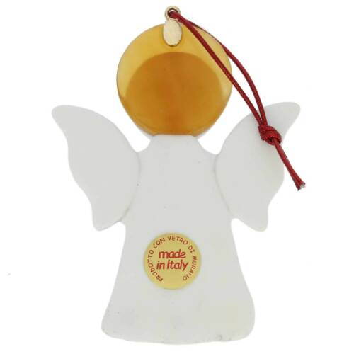 White GlassOfVenice Murano Glass Angel Christmas Ornament
