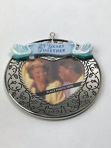 Hallmark Keepsake Ornament Photo Holder 1991 25 Years Together Silver Christmas