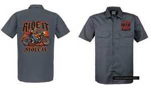 Like amp;oldschoolmotiv Grau Chopper Modell Ride It Hd Biker Worker Vintage Shirt w71qRxcvg