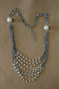 NWT Uno De 50 Silver Oval Bead DISORDER Multi Strand Long Statement Bib Necklace