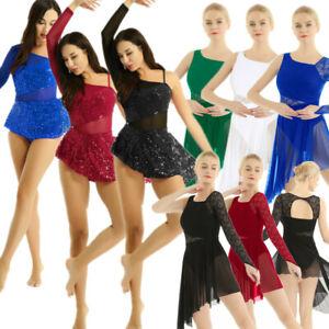 Women-039-s-Lyrical-Dress-Single-Long-Sleeve-Ballet-Dance-Leotard-Dancewear-Costume