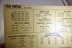 1958 Pontiac All Models Chart Sheet Wiring Diagram Sun Electric Corporation Ebay