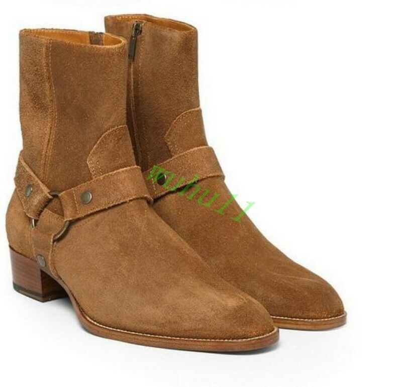 Gladiator Mens Fashion Cow Suede Ankle Boots Chelsea Shoes High Top Cuban Heel