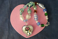 Beautiful Murano Necklace 16 Inches Long + Pendant With Silver Clasps In Box