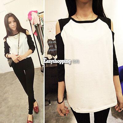 Graceful Women's Top Off Shoulder 1/2 Sleeve T-shirt Blouse Black + White ES9P
