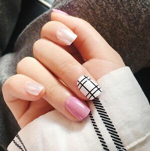 Image Is Loading Yunail 24pcs Short Fake Nails Pink Silver Curved