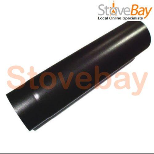 """125mm For Wood Burning Stoves 1.4mm 500mm Black Vitreous Enamel Flue Pipe 5/"""""""