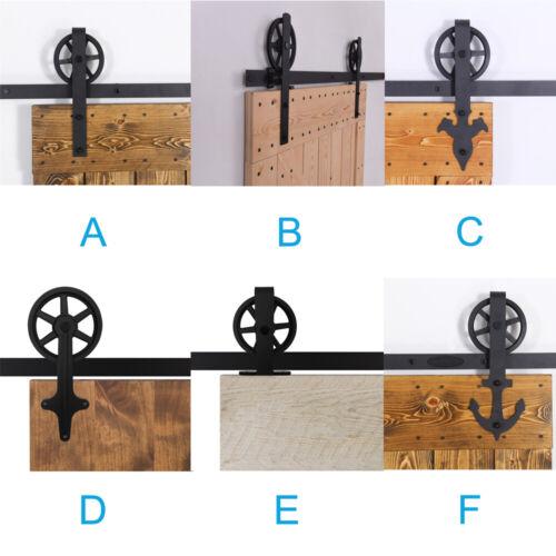 4ft-20ft Big Strap Spoke Wheel Sliding Wood Barn Door Hardware For One//Two Doors