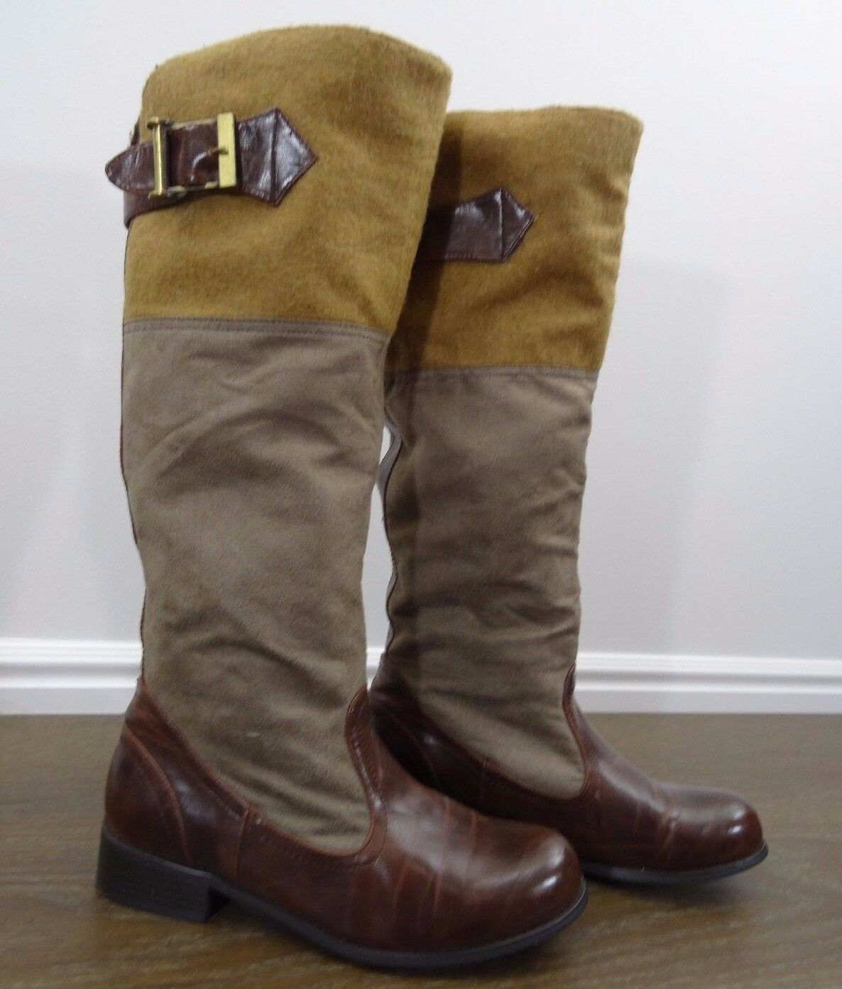 Tall Boot Bamboo Tan Suede Buckle size 9