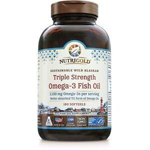 Nutrigold Triple Strength Omega-3 Fish Oil Supplement, Better Absorbed TG For...