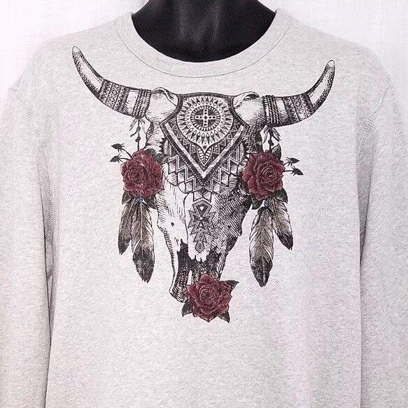 Denim & Supply Ralph Lauren Sweatshirt Southwestern Longhorn Cow Skull Large