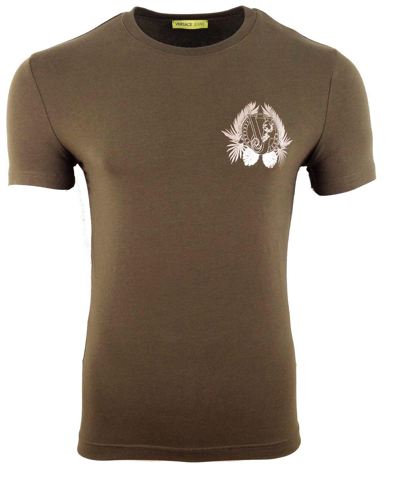 BNWT Versace Jeans verde Scuro e argentoo Lamina Stampa con logo sul petto TIGER Foglia di t-shirt