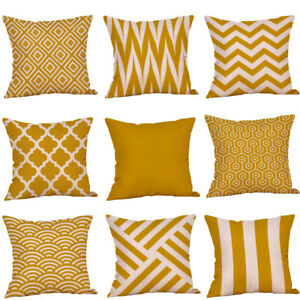 Mustard-Pillow-Case-Yellow-Geometric-Fall-Autumn-Cushion-Cover-Decorative-New-YE