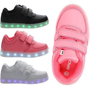 new product f0b3a 97671 Details zu Mädchen Sportschuhe Kinderschuhe Flach Klettverschluss Schuhe  LED Gr. 25-36 NEU