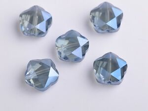10pcs-14mm-Flowers-Faceted-Crystal-Glass-Charms-Loose-Spacer-Beads-Eye-Blue