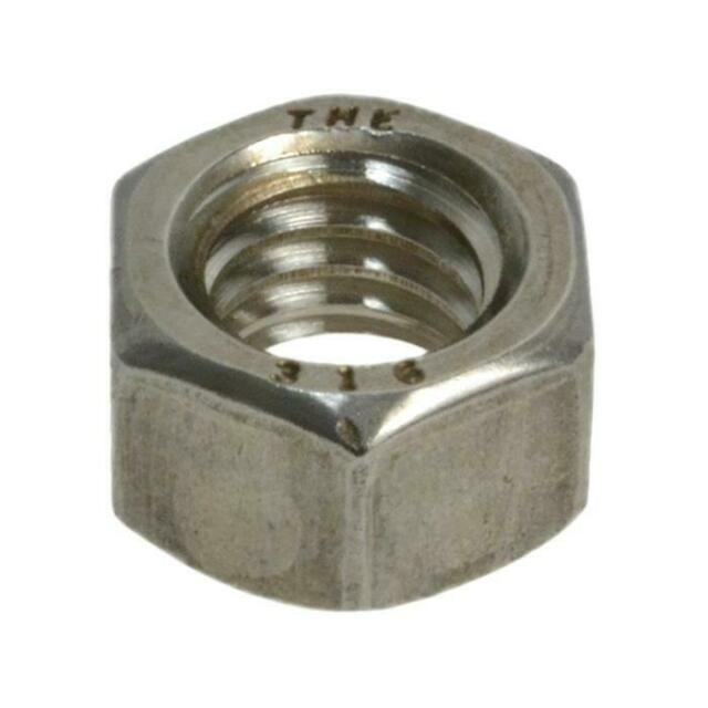 """Qty 5 Hex Full Nut 1"""" UNC Imperial Marine Grade Stainless SS 316 A4 70"""