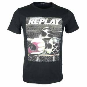 REPLAY-Girocollo-Stampato-Logo-Black-T-shirt