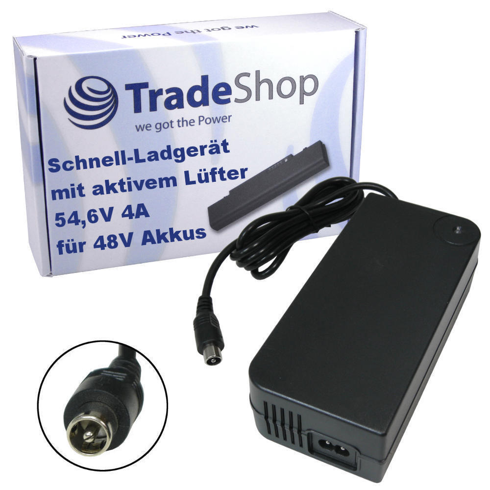 Trade-shop 54,6v 4a 1pin Cochegador fuente alimentación de Cochegador para e-bike pedelecs 48v baterias