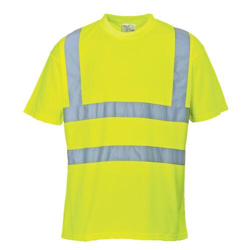 PortWest Men Hi-Vis T-Shirt Red//Yellow Various Size S478