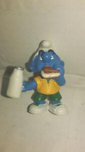 Bd-figurine-schtroumpf-mange-un-gateau-1999-peyo-schleich-SMURF-PUFFI