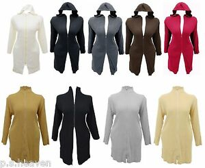 WOMENS-NEW-LONG-RIBBED-CARDI-HOODED-TURTLE-NECK-16-26-KNITTED-JACKET-CARDIGAN