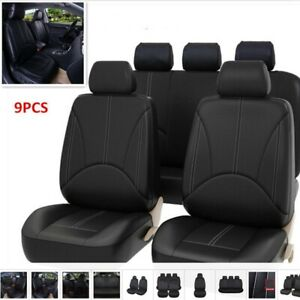 9Pcs-Black-Universal-Car-Seat-Covers-Kit-PU-Leather-Cushion-Full-Protect-Set-NEW