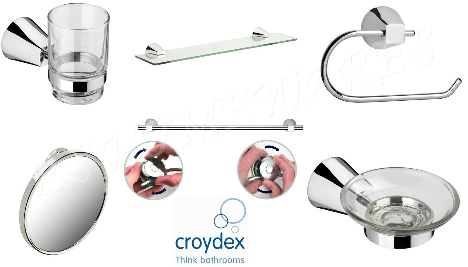 Croydex Flexi-Fix Bathroom-Accessories Towel Rail/Roll Holder ...