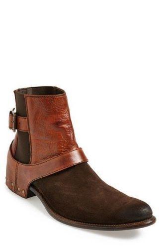 botas al Tobillo de Cuero para Hombres Pantalones Alta Hebilla Gamuza Cuero Genuino Chelsea Zapatos