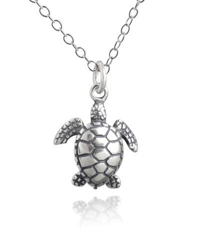 Marine Turtles Ocean NEW 925 Sterling Silver Sea Turtle 3D Pendant Necklace