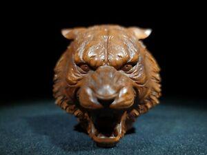 Noble Decor Netsuke natural boxwood carve fierce tiger head statue figurines