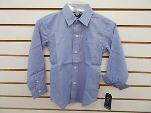 Boys Nautica $37.50 Guava or French Blue Button Down Shirt Size 4-7X