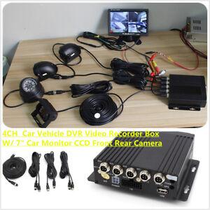 4CH-Car-DVR-MDVR-Video-Recorder-7-034-LCD-Monitor-4x-Cam-For-Truck-Van