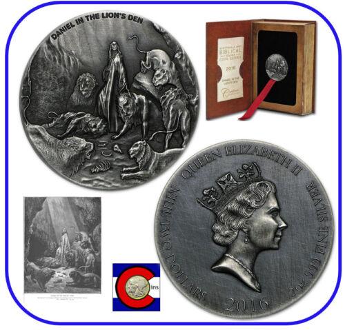 2016 Niue Daniel in the Lion/'s Den 2 oz Silver Coin w// COA packaging Biblical