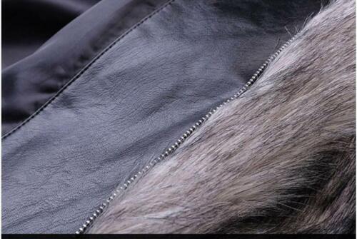 Homme Faux vison fourrure veste pardessus trench manteau épaissir Zip hiver chaud Outwear