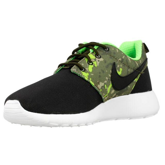 Nike Roshe One Print GS Black Green Kids Youth Womens Running Shoes ... 6f1409b9905d