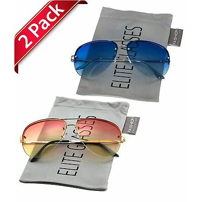 1eb05662671 Elite Gradient Oceanic Lens Oversized Rimless Metal Frame Aviator Sunglasses