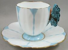 Aynsley Blue Butterfly Handle Demitasse Cup and Saucer